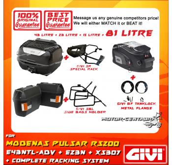 GIVI TOTAL 81 LITRE CASES SET FOR MODENAS BAJAJ PULSAR RS200