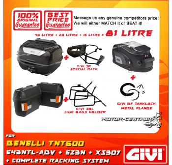 GIVI TOTAL 81 LITRE CASES SET FOR BENELLI TNT600