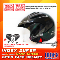 INDEX SUPER HELMET DARK GREEN + SIDE CAPS CONVERTER