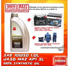 ENEOS 4T FULLY SYNTHETIC ENGINE LUBRICANT SAE10W50 1L + MOTOGP T-SHIRT DESIGN 1 (OCT 2019)