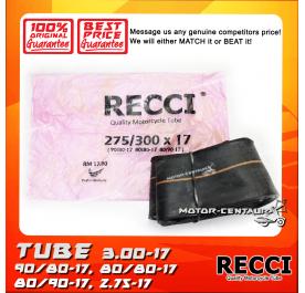 RECCI TUBE 2.75-17, 3.00-17, 90/80-17, 80/80-17, 80/90-17