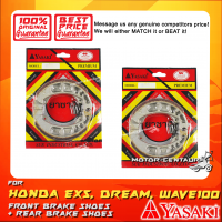 YASAKI PREMIUM FRONT + REAR DRUM BRAKES SHOES FOR HONDA EX5 DREAM (NON-FI)
