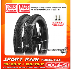 CORSA TUBELESS TYRE SPORT RAIN 90/80-17 + 130/70-17
