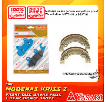 YASAKI FRONT DISC BRAKE PADS + REAR PREMIUM DRUM BRAKE SHOES FOR MODENAS KRISS 2
