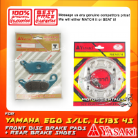 YASAKI FRONT DISC BRAKE PADS + REAR PREMIUM DRUM BRAKE SHOES FOR YAMAHA LC135 4S