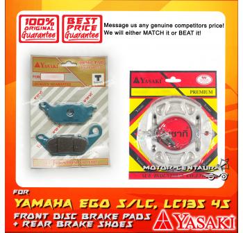 YASAKI FRONT DISC BRAKE PADS + REAR PREMIUM DRUM BRAKE SHOES FOR YAMAHA LC135 4S