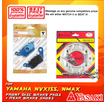 YASAKI FRONT DISC BRAKE PADS + REAR PREMIUM DRUM BRAKE SHOES FOR YAMAHA NMAX