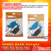 YASAKI FRONT DISC BRAKE PADS + REAR DISC BRAKE PADS FOR HONDA WAVE DASH, FUTURE