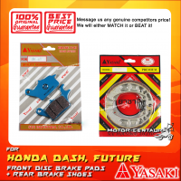 YASAKI FRONT DISC BRAKE PADS + REAR PREMIUM DRUM BRAKE SHOES FOR HONDA WAVE DASH