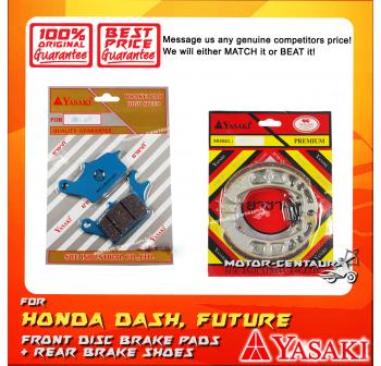 YASAKI FRONT DISC BRAKE PADS + REAR PREMIUM DRUM BRAKE SHOES FOR HONDA WAVE DASH