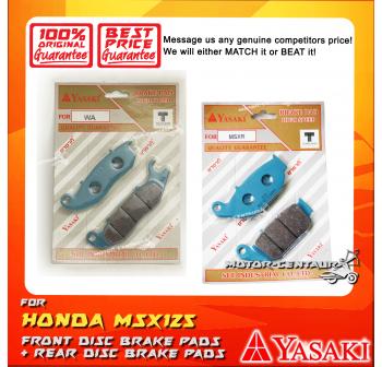 YASAKI FRONT DISC BRAKE PADS + REAR DISC BRAKE PADS FOR HONDA MSX125