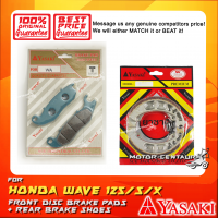 YASAKI FRONT DISC BRAKE PADS + REAR PREMIUM DRUM BRAKE SHOES FOR HONDA WAVE 125