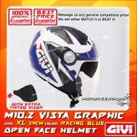 GIVI JET HELMET M10.2 VISTA XL GRAPHIC RACING BLUE + TINTED VISOR