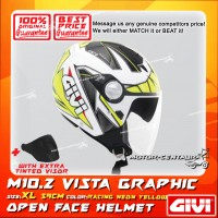 GIVI JET HELMET M10.2 VISTA XL GRAPHIC RACING NEON YELLOW + TINTED VISOR