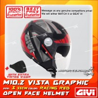 GIVI JET HELMET M10.2 VISTA S GRAPHIC RACING RED + TINTED VISOR