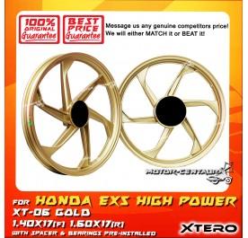 XTERO SPORT RIM XT-06 1.40X17(F) 1.60X17(R) EX5 HIGH POWER GOLD