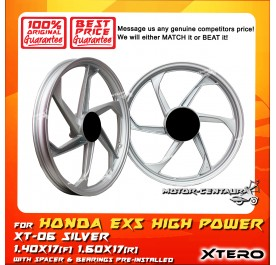 XTERO SPORT RIM XT-06 1.40X17(F) 1.60X17(R) EX5 HIGH POWER SILVER