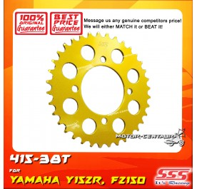 SSS REAR SPROCKET STEEL FZ150,Y15, Y15ZR 415-38T COLOR: NEW YELLOW GOLD