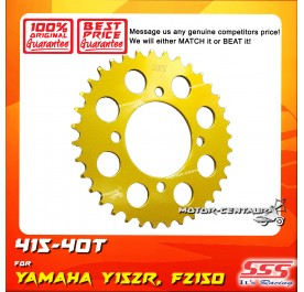 SSS REAR SPROCKET STEEL FZ150,Y15, Y15ZR 415-40T COLOR: NEW YELLOW GOLD