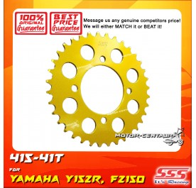 SSS REAR SPROCKET STEEL FZ150,Y15, Y15ZR 415-41T COLOR: NEW YELLOW GOLD