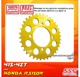 SSS REAR SPROCKET STEEL RS150R 415-42T COLOR: NEW YELLOW GOLD