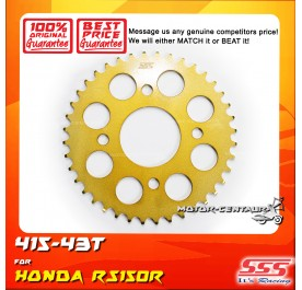 SSS REAR SPROCKET STEEL RS150R 415-43T COLOR: NEW YELLOW GOLD