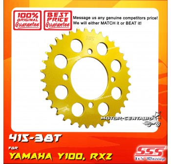 SSS REAR STEEL SPROCKET Y100, SRL110, Y125Z, RXZ, LC135, DV110, EVOZ 415-38T COLOR: NEW YELLOW GOLD