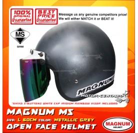 MAGNUM M5 HELMET GREY + BIKKO IRIDIUM RAINBOW VISOR (5 BUTTONS)