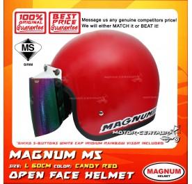 MAGNUM M5 HELMET RED + BIKKO IRIDIUM RAINBOW VISOR (5 BUTTONS)