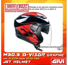 GIVI JET HELMET M30.3 D-VISOR M ECHO RED