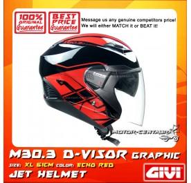 GIVI JET HELMET M30.3 D-VISOR XL ECHO RED