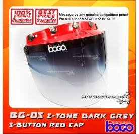 BOGO VISOR BG-05 2-TONE GREY, 5 BUTTONS RED-CAP