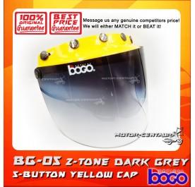 BOGO VISOR BG-05 2-TONE GREY, 5 BUTTONS YELLOW-CAP