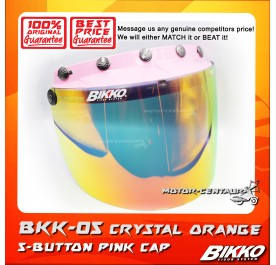 BIKKO VISOR BKK-05 CRYSTAL ORANGE, 5 BUTTONS PINK-CAP