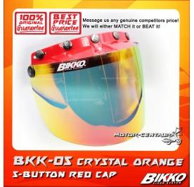 BIKKO VISOR BKK-05 CRYSTAL ORANGE, 5 BUTTONS RED-CAP