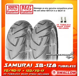 SWALLOW TUBELESS TYRE SB128 SAMURAI 70/90-17 + 120/70-17