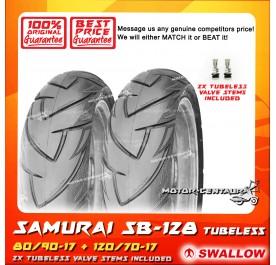 SWALLOW TUBELESS TYRE SB128 SAMURAI 80/90-17 + 120/70-17
