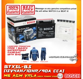BOSCH VRLA AGM BATTERY M6 MEGA POWER RIDE BTX5L-BS + BOSCH RAIN COAT (LAUNCHING PROMOTION)