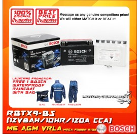 BOSCH VRLA AGM BATTERY M6 MEGA POWER RIDE RBTX9-BS + BOSCH RAIN COAT (LAUNCHING PROMOTION)