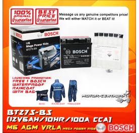 BOSCH VRLA AGM BATTERY M6 MEGA POWER RIDE BTZ7S-BS + BOSCH RAIN COAT (LAUNCHING PROMOTION)