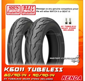 KENDA TUBELESS TYRE K6011 80/90-14 + 90/90-14