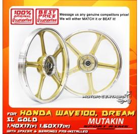 MUTAKIN SPORT RIM W/BEARINGS 5L 1.40X17 (F) 1.60X17(R) GOLD