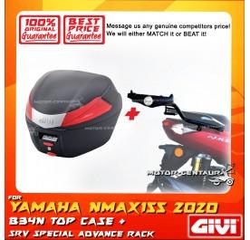 GIVI B34N TOP CASE + GIVI YAMAHA NMAX155 (MODEL AFTER 2020) SRV SPECIAL RACK