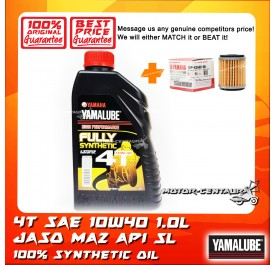 YAMALUBE 4T MA2 FULLY SYNTHETIC SAE 10W40 ENJINE LUBRICANT [1.0L] + YAMAHA OIL FILTER LC135