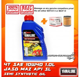 YAMALUBE 4T MA2 SEMI SYNTHETIC SAE 10W40 ENJINE LUBRICANT [1.0L] + YAMAHA OIL FILTER LC135