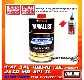 YAMALUBE 4-AT MB SEMI SYNTHETIC BLUE CORE SAE 10W40 SCOOTER ENGINE LUBRICANT [1.0L] + YAMALUBE GEAR OIL [0.1L]