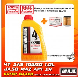 YAMAHA OIL FILTER LC135 + YAMALUBE 4T MA2 SAE 10W0 FULLY SYNTHETIC RS200 ESTER BASED PERFORMANCE OIL [1.0L]