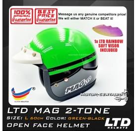 LTD HELMET MAG 2TONE GREEN-BLACK + SOFT VISOR FV-13 IRIDIUM RAINBOW