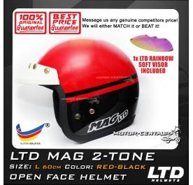LTD HELMET MAG 2TONE RED-BLACK + SOFT VISOR FV-13 IRIDIUM RAINBOW