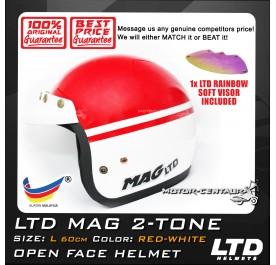 LTD HELMET MAG 2TONE RED-WHITE + SOFT VISOR FV-13 IRIDIUM RAINBOW